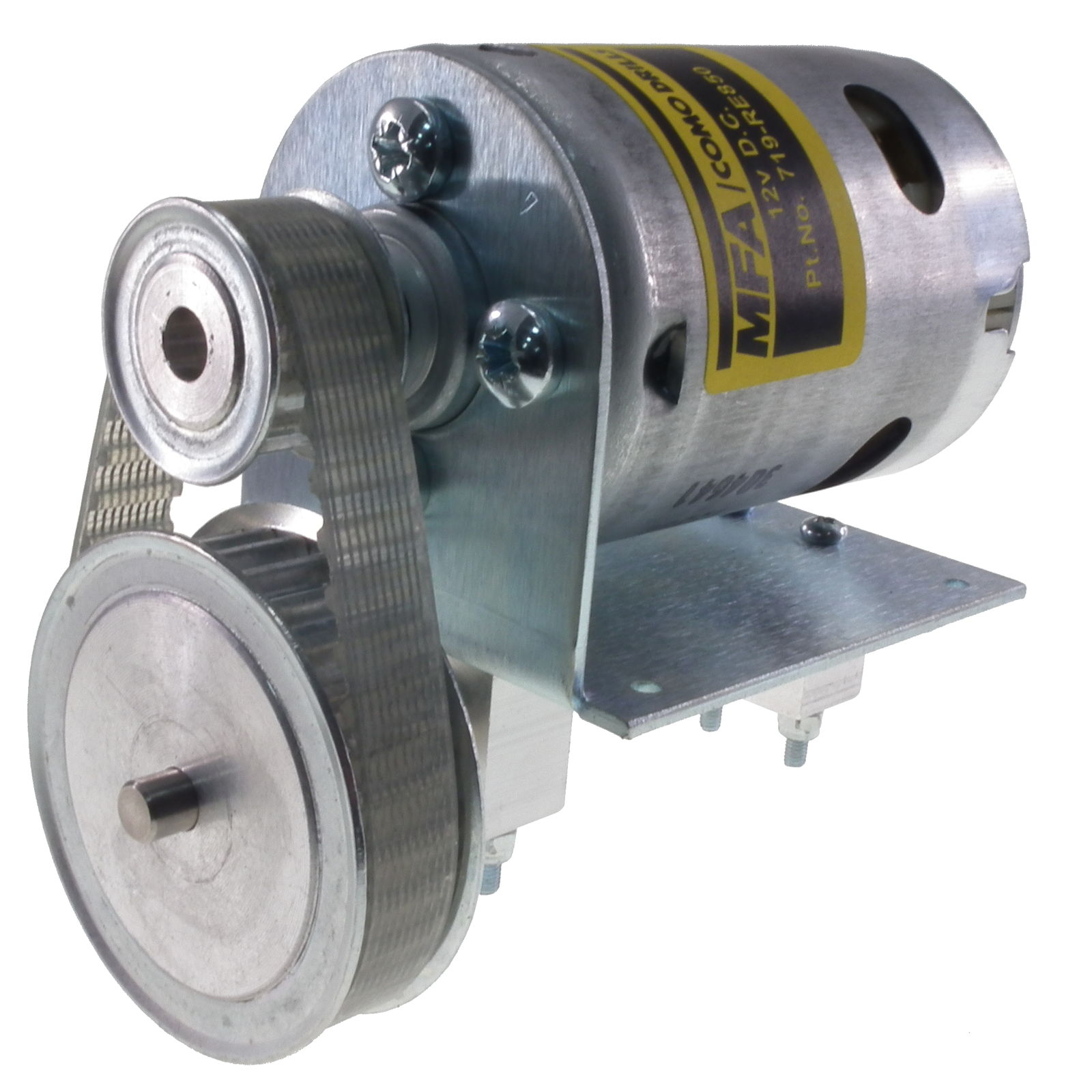 800 12V DC Motor with 2 1:1 belt Reduction drive MFA